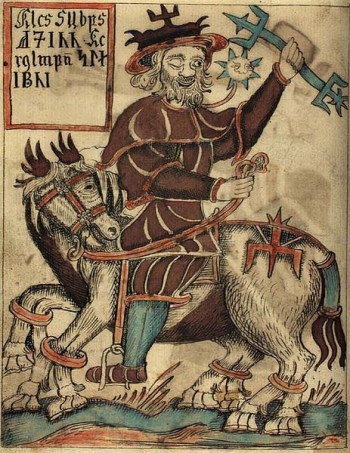 Odin 463px-NKS_1867_4to,_97v,_Odin_on_Sleipnir
