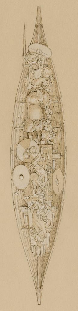 sepoltura in barca da Kaupang, in Norvegia, all'inizio del X secolo. Illustrazione di Þórhallur Þráinsson,