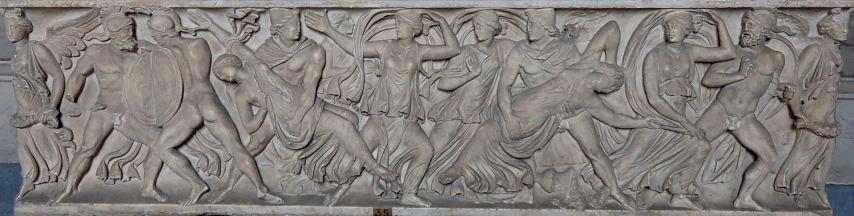 Il rapimento delle Leucippidi su sarcofago romano dei Musei Vaticani. I Dioscuri hanno sul capo il Pileo.