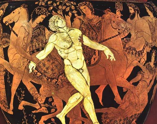 l gigante di bronzo Talos di Creta viene ucciso dalla strega Medea (estrema sinistra) e dai Dioscuri durante il viaggio degli Argonauti. I gemelli sono montati su cavalli e afferrano il gigante per le braccia. Gli dei Poseidone e Anfitrite (angolo in alto a destra) assistono alla scena.